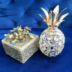 Other - Gold Pineapple & Trinket Box Decor Pieces